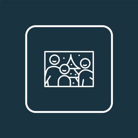 Family photo icon line symbol. Premium quality isolated picture element in trendy style.