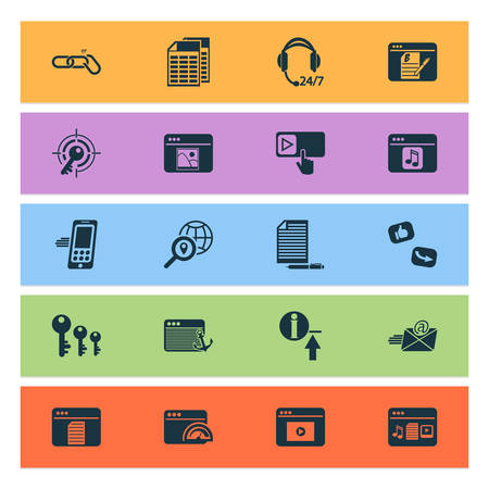 Finance icons set with copywriting, anchor text, text content and other register elements. Isolated vector illustration finance icons.