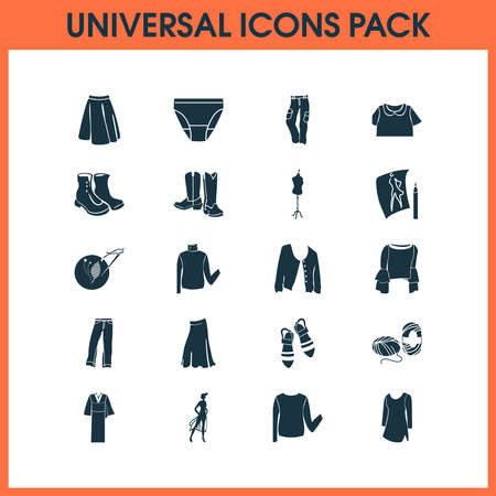 Fashionable icons set with cowboy boots, high bias roll, long skirt and other cargo pants elements. Isolated vector illustration fashionable icons. Banque d'images - 135362957