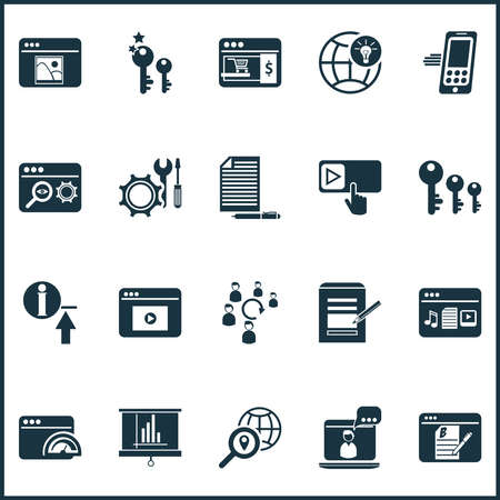 Finance icons set with photo content, online consulting, search optimization and other uploading elements. Isolated vector illustration finance icons.