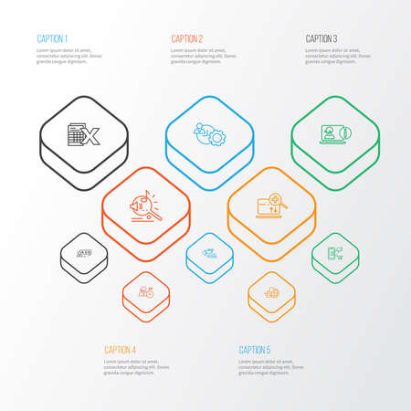 Optimization icons line style set with online consulting, spreadsheets, search engine and other productivity elements. Isolated vector illustration optimization icons.