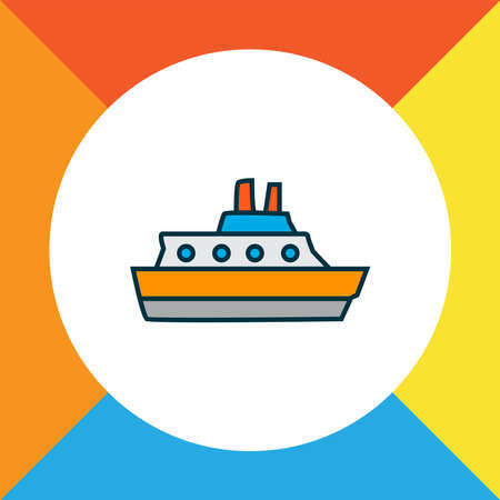 Cruise icon colored line symbol. Premium quality isolated vessel element in trendy style.
