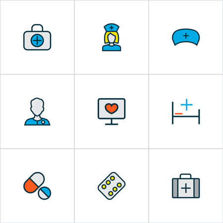 Antibiotic icons colored line set with medical diagnostics, medicines, hospital bed and other uniform elements. Isolated vector illustration antibiotic icons.