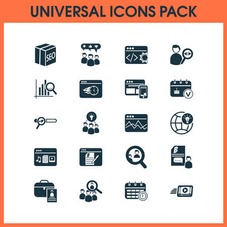 Business icons set with video marketing, awards campaign, time planning and other professional elements. Isolated vector illustration business icons. Ilustração