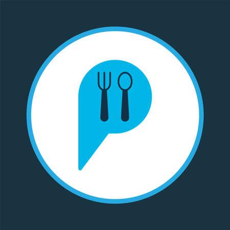 Restaurant pin icon colored symbol. Premium quality isolated check-in element in trendy style. Illusztráció