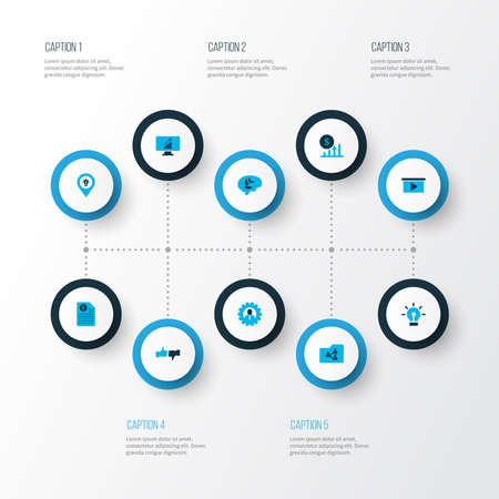 Work icons colored set with shared folder, profit, destination and other bulb elements. Isolated vector illustration work icons.