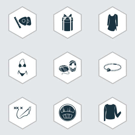 Style icons set with low bias roll, tunic, bracelet and other equipment elements. Isolated vector illustration style icons.