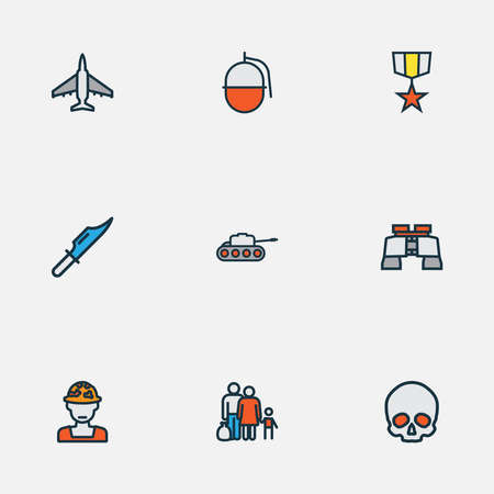 Army icons colored line set with soldier, tank, skull and other military elements. Isolated vector illustration army icons.