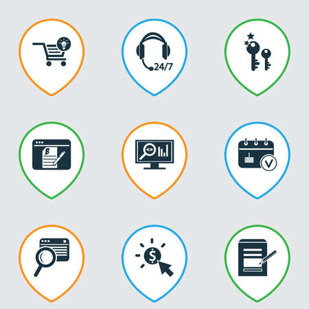 Business icons set with ecommerce solution, search content, contact form and other magnifying elements. Isolated vector illustration business icons. Illustration