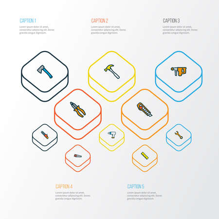 Repair icons colored line set with pliers, ruler, utility knife and other sawing elements. Isolated illustration repair icons. Archivio Fotografico