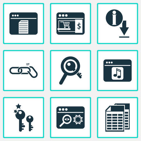 Analytics icons set with link building, search optimization, spreadsheets and other content elements. Isolated vector illustration analytics icons.