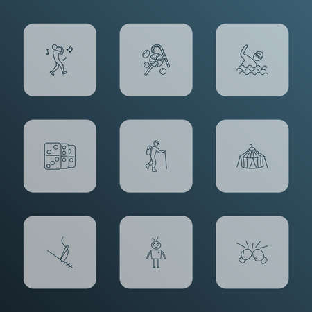 Lifestyle icons line style set with hiking, robots, cirque and other needlework elements. Isolated vector illustration lifestyle icons.