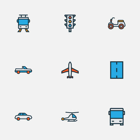 Shipment icons colored line set with bus, helicopter, traffic light and other way elements. Isolated vector illustration shipment icons.