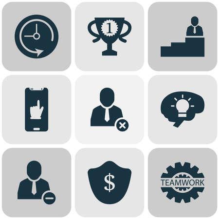 Icone di lavoro impostate con l'uomo in cima, comunicazione di squadra, protezione e altri elementi dell'utente di eliminazione. Icone di lavoro illustrazione vettoriale isolato.