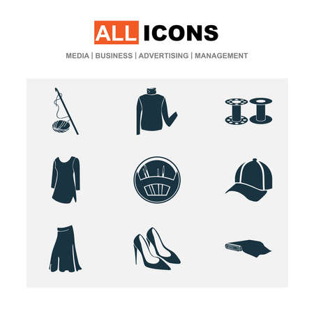 Style icons set with fabric roll, crochet, bobbin and other dress elements. Isolated vector illustration style icons. Ilustração