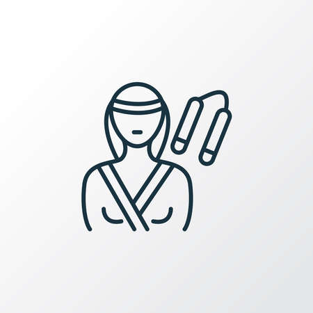Karate woman icon line symbol. Premium quality isolated martial element in trendy style. 向量圖像