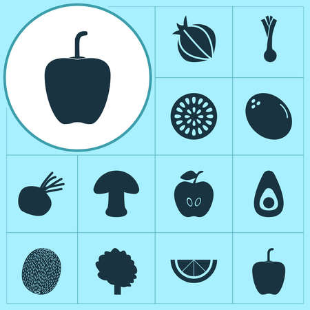 Vegetable icons set with bell pepper, passion fruit, kiwi and other green onion elements. Isolated vector illustration vegetable icons.