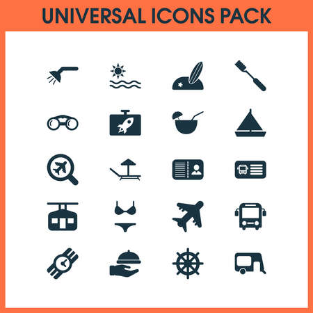 Travel icons set with find an airplane, swimsuit, aircraft and other identification elements. Isolated vector illustration travel icons.