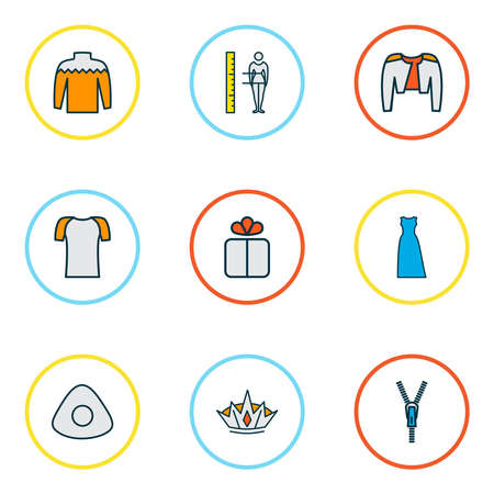 Fashionable icons colored line set with crown, belero, chalk and other tool elements. Isolated vector illustration fashionable icons.