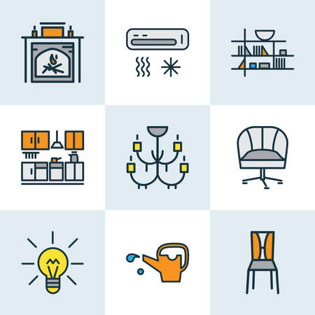 Decor icons colored line set with watering can, seat, armchair and other cooler elements. Isolated vector illustration decor icons.