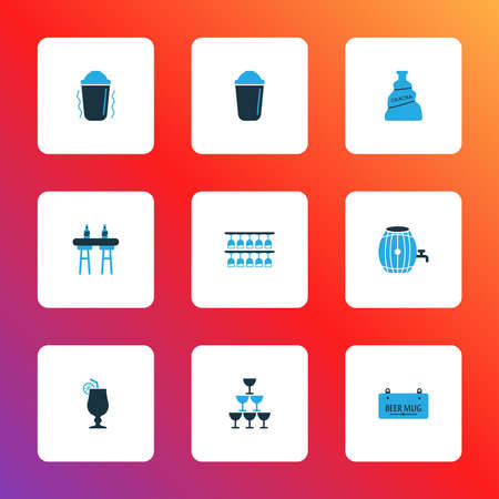 Drink icons colored set with bar counter, glasses, chacha and other signboard elements. Isolated vector illustration drink icons.