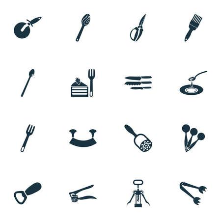 Kitchenware icons set with soda spoon, dishware, bottle opener and other instrument elements. Isolated vector illustration kitchenware icons. Ilustração