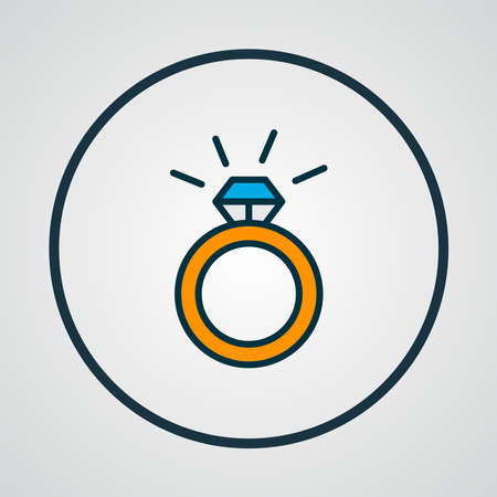 Ring icon colored line symbol. Premium quality isolated engagement element in trendy style.