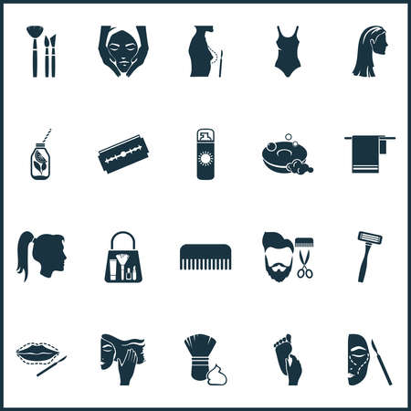 Cosmetics icons set with foot massage, face massage, straight hair and other sharp elements. Isolated vector illustration cosmetics icons. Иллюстрация