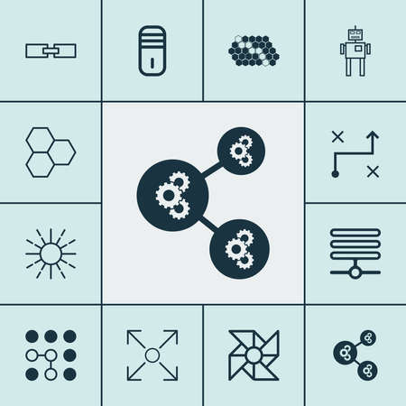 Machine icons set with gear algorithm, robot, computational complexity and other hive pattern elements. Isolated illustration machine icons.