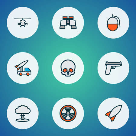 Battle icons colored line set with military rocket, gun, military helicopter and other radioactive elements. Isolated vector illustration battle icons.