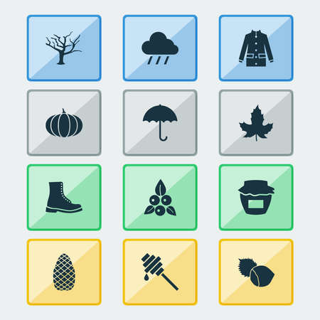 Seasonal icons set with jam, coat, rain and other filbert elements. Isolated vector illustration seasonal icons.