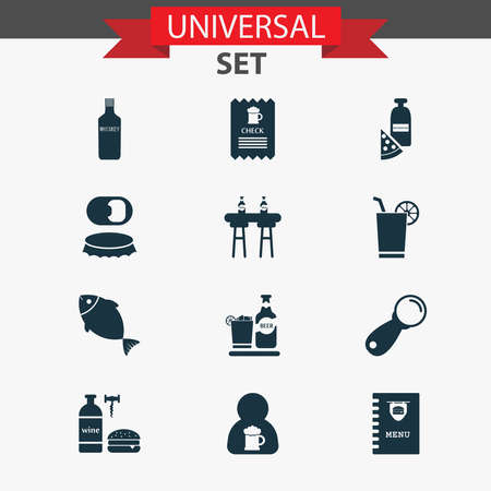 Drink icons set with bar counter, check, burger menu and other restaurant elements. Isolated vector illustration drink icons.