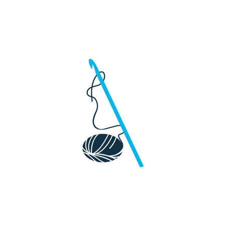 Crochet icon colored symbol. Premium quality isolated knitting element in trendy style.