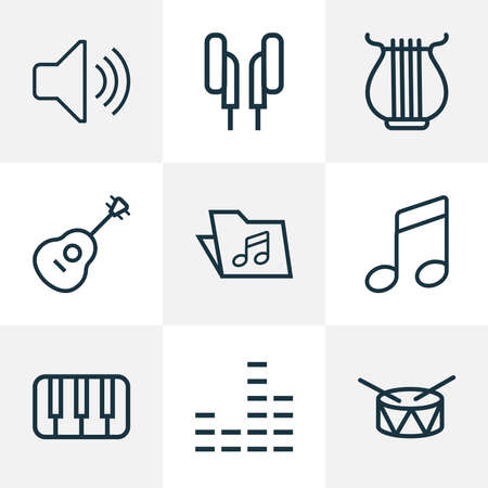 Multimedia icons line style set with notes, folder, mixer and other audio level elements. Isolated vector illustration multimedia icons.