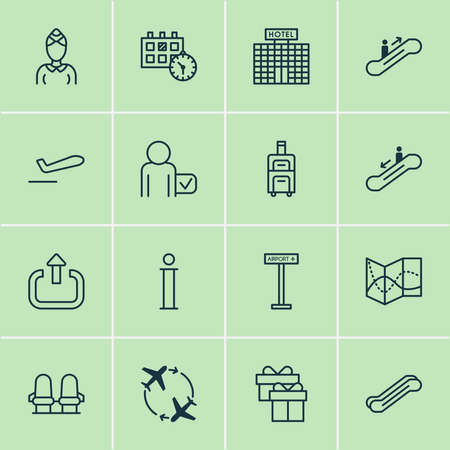 Transportation icons set with logout, hotel building, passenger and other globetrotter elements. Isolated illustration transportation icons.
