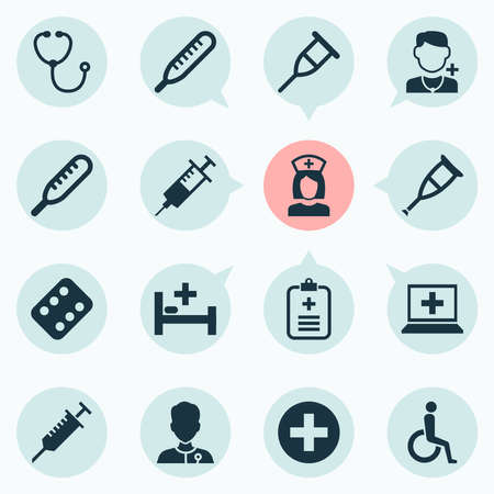 Antibiotic icons set with temperature, computer, thermometer and other physician elements. Isolated vector illustration antibiotic icons.