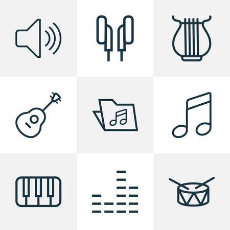 Multimedia icons line style set with notes, folder, mixer and other audio level elements. Isolated illustration multimedia icons.