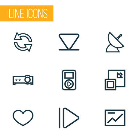 Multimedia icons line style set with communication antenna, favorite, audio and other chart elements. Isolated illustration multimedia icons.