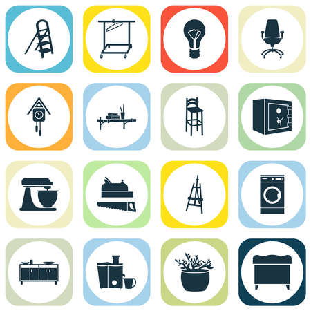 Home decoration icons set with washing machine, lightbulb, wall shelf and other laundromat elements. Isolated vector illustration home decoration icons. Stock Illustratie
