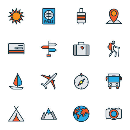 Traveling icons colored line set with bus, baggage suitcase, airplane and other autobus elements. Isolated vector illustration traveling icons.