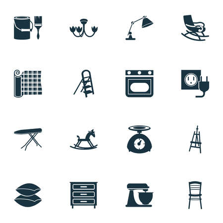 Interior icons set with stepladder, rocking horse, kitchen scales and other cushion elements. Isolated vector illustration interior icons.