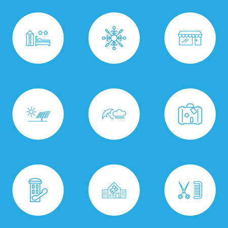 Public. Skyline icons line style set with storefront, snowflake, rainy weather and other phone cabin elements. Isolated vector illustration public. Skyline icons.