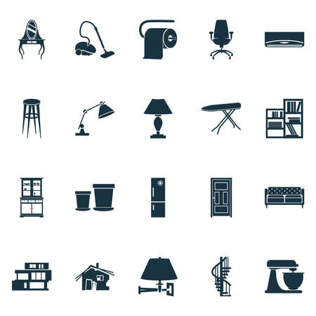 House icons set with shelving unit, circular staircase, lamp and other ergonomic armchair elements. Isolated vector illustration house icons.