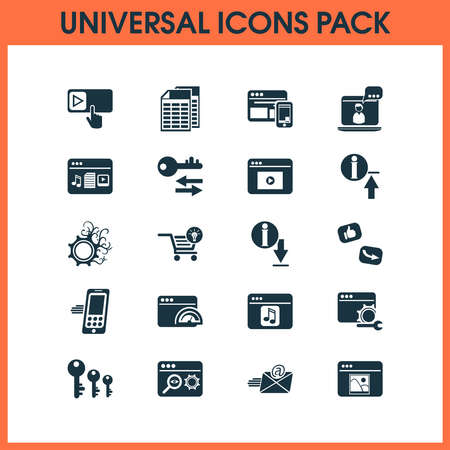 Analytics icons set with spreadsheets, creative services, website optimization and other browser elements. Isolated vector illustration analytics icons.