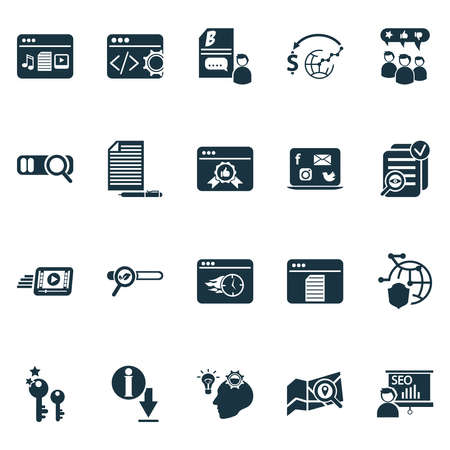 Analytics icons set with local search, page quality, SEO report and other copyrighting elements. Isolated vector illustration analytics icons.