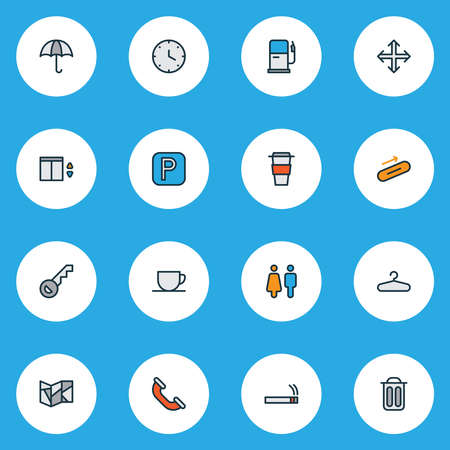 Navigation icons colored line set with toilet, navigation, coffee and other drink elements. Isolated vector illustration navigation icons. Иллюстрация