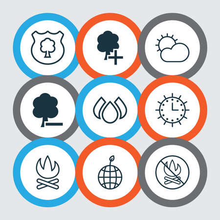 Eco-friendly icons set with campfire, sunny weather, no bonfire and other bonfire elements. Isolated illustration eco-friendly icons. Banco de Imagens