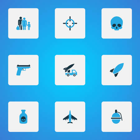 Battle icons colored set with fugitive, dynamite, bomb and other aim elements. Isolated illustration battle icons.