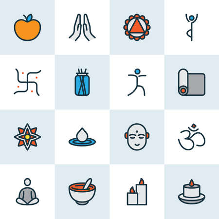 Ligne colorée d'icônes de yoga sertie d'aliments sains, de paraffine, d'ornement et d'autres éléments om. Icônes de yoga illustration vectorielle isolé. Vecteurs