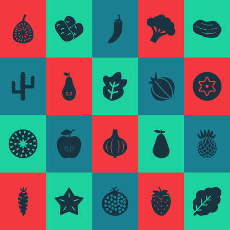 Vegetable icons set with cactus, carrot, pear and other broccoli elements. Isolated vector illustration vegetable icons.